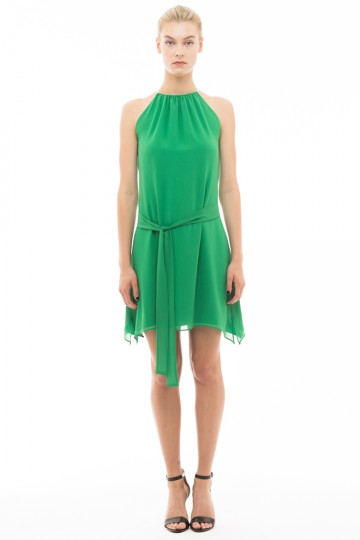 Green Silk Collar Dress