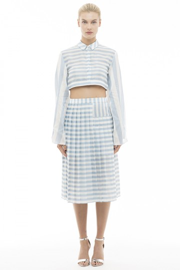 Silk Blend Stripe Asymmetry Pleats Skirt