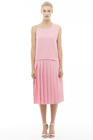 Pink Kadi Pleats Skirts