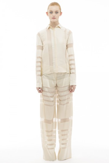 Silk Jacquard Stripe Wide Trousers