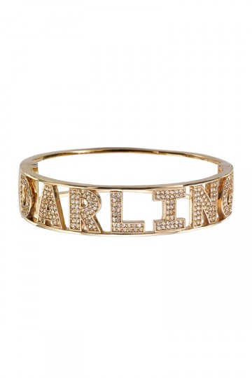 Crystal Encrusted Darling Slogan Bangle