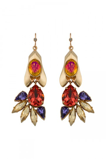 Gem Studded Petal Drop Earrings Orange