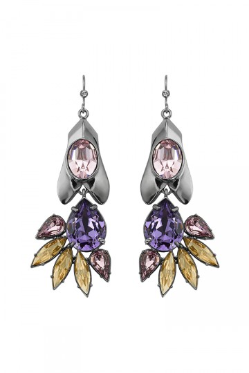 Gem Studded Petal Drop Earrings Purple