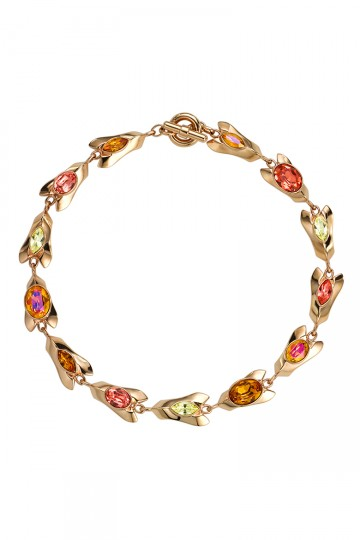 Gem Encrusted Petal Necklace Orange