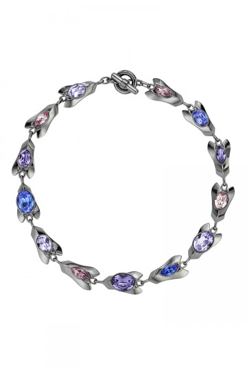 Gem Encrusted Petal Necklace Purple