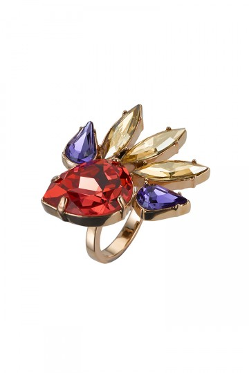 Gem Studded Spark Ring Orange