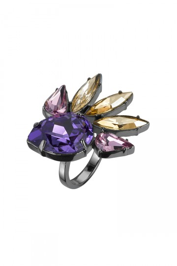 Gem Studded Spark Ring Purple