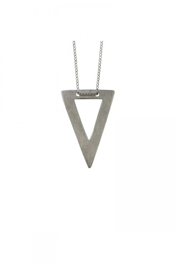 Cut Out Triangle Necklace Silver
