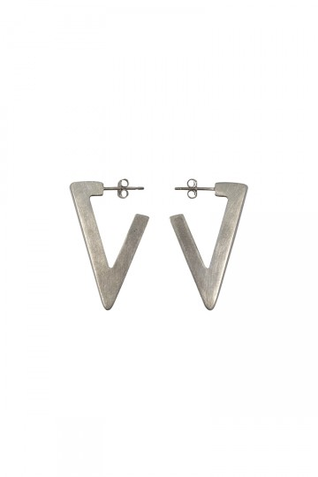 LARGE TRIANGLE EARRINGS SILVER