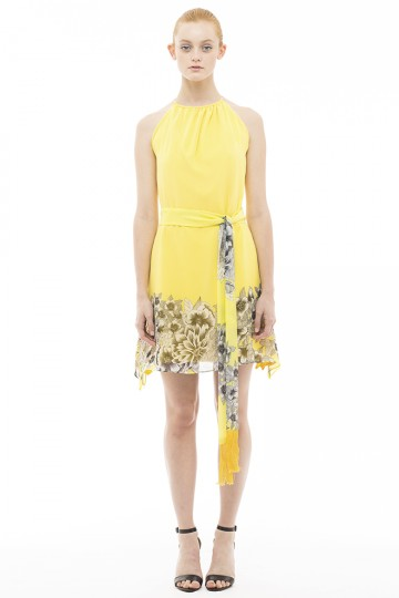 Yellow Silk Collar Dress
