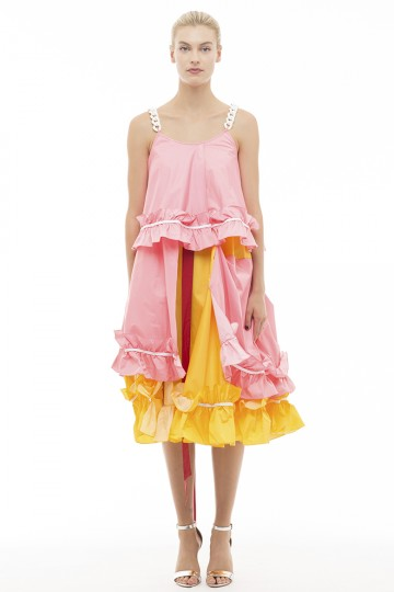 Short Pink Yellow Cake Dress
